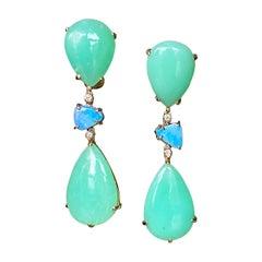 Joon Han Chrysoprase Boulder Opal Diamond 18 Karat Gold Drop Dangle Earrings