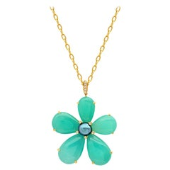 Joon Han Chrysoprase Keshi Pearl Diamond 18 Karat Gold Flower Pendant Necklace