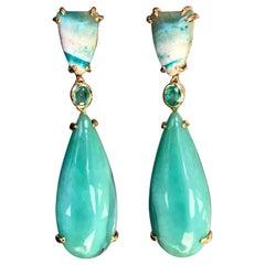 Emerald Opalized Petrified Wood 18 Karat Gold Drop Dangle Earrings