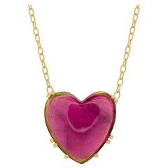 Joon Han Heart Watermelon Tourmaline Diamond 18 Karat Gold Pendant Necklace