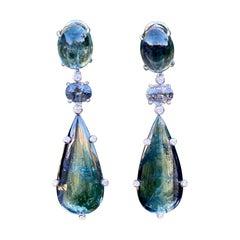 Joon Han Indicolite Bicolor Tourmaline Spinel Diamond 18 Karat Gold Earrings