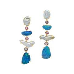 Joon Han Keshi Pearl Boulder Opal Spinel 18 Karat Yellow Gold Dangle Earrings
