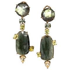 Joon Han Labradorite Tourmaline Sapphire Chrysoberyl 18 Karat Gold Drop Earrings