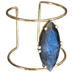 Joon Han Madagascar Labradorite Diamond 18 Karat Yellow Gold Cuff Bracelet