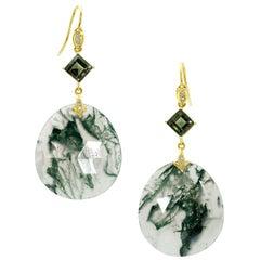 18 Karat Yellow Gold Moss Agate Tourmaline Diamond Drop Dangle Earrings