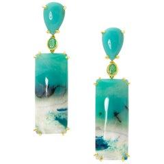 Joon Han Opalized Petrified Wood Emerald 18 Karat Yellow Gold Earrings
