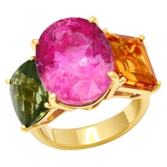 Joon Han Pink Tourmaline Citrine Tourmaline 3-Stone 18 Karat Gold Cocktail Ring