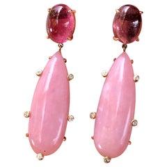 18 Karat Rose Gold Pink Tourmaline Pink Opal Diamond Drop Dangle Earrings