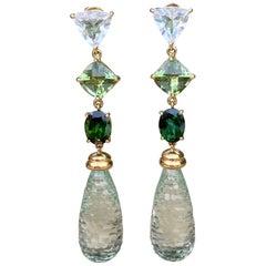 Joon Han Prasiolite Briolette Tourmaline White Topaz 18 Karat Gold Earrings