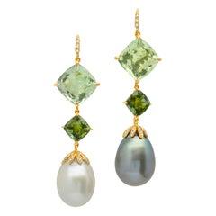 18 Karat Gold Prasiolite Tourmaline South Sea Tahitian Pearl Diamond Earring