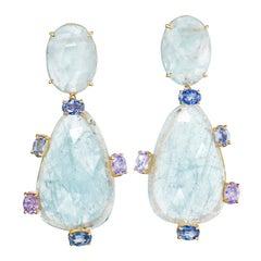 Joon Han Rose Cut Aquamarine Multi Color Spinel 18 Karat Gold Dangle Earrings
