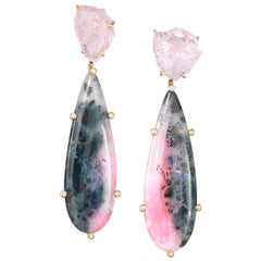 Joon Han Rough Morganite Pink Opal Diamond 18 Karat Gold Drop Dangle Earrings