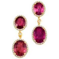 18 Karat Yellow Gold Rubellite Pink Tourmaline Diamond Drop Dangle Earrings