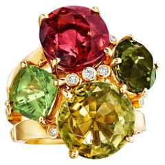 18 Karat Yellow Gold Rubellite Multi Tourmaline Diamond Cluster Cocktail Ring