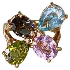 18 Karat Yellow Gold Sapphire Aquamarine Tourmaline Peridot Diamond Ring
