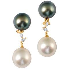 Joon Han South Sea Tahitian Pearl Diamond 18 Karat Gold Dangle Earrings