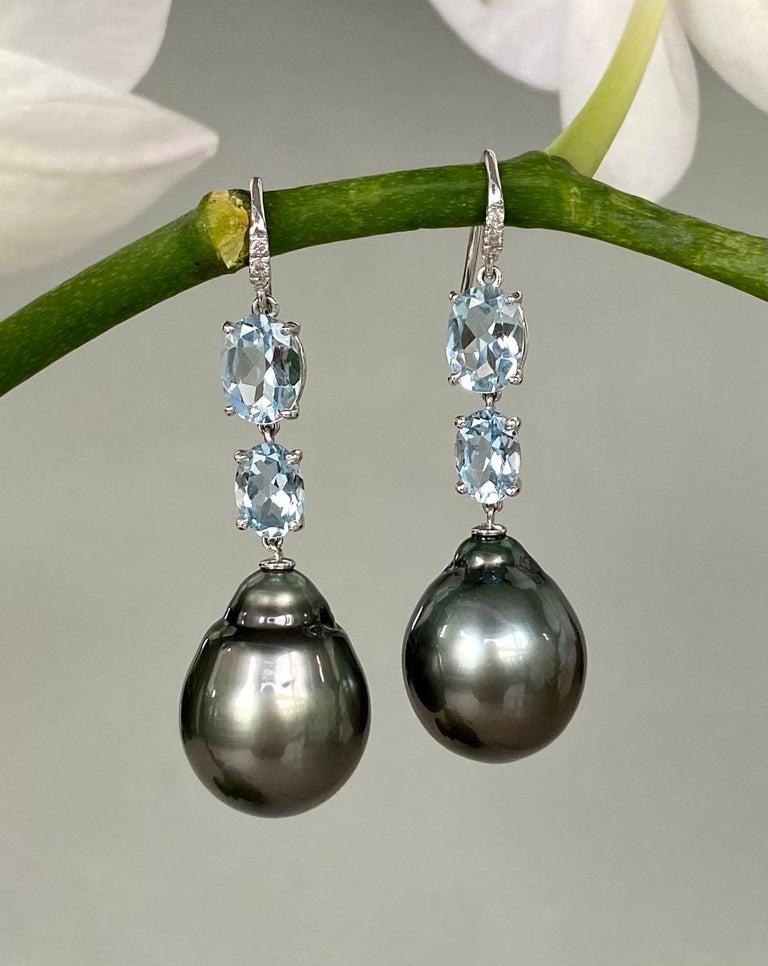 Women's 18 Karat White Gold Black Tahitian Pearl Aquamarine Diamond Drop Dangle Earrings For Sale