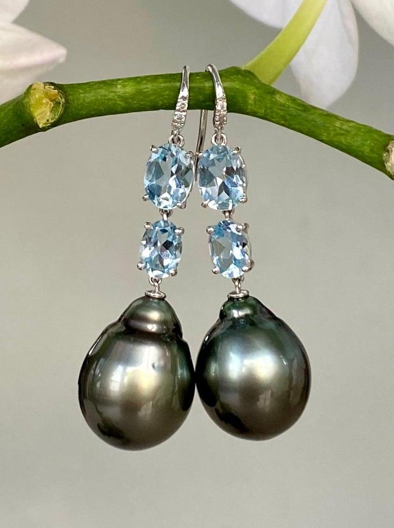 Contemporary 18 Karat White Gold Black Tahitian Pearl Aquamarine Diamond Drop Dangle Earrings For Sale