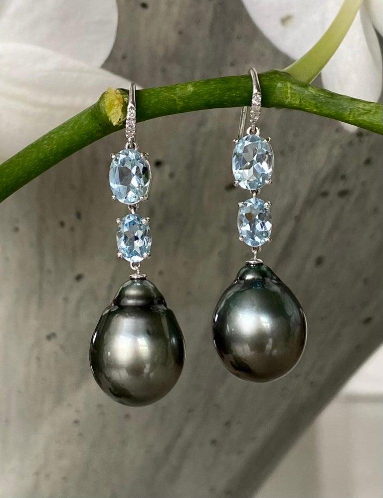 Mixed Cut 18 Karat White Gold Black Tahitian Pearl Aquamarine Diamond Drop Dangle Earrings For Sale