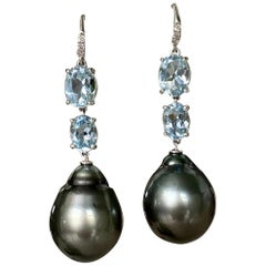 18 Karat White Gold Black Tahitian Pearl Aquamarine Diamond Drop Dangle Earrings