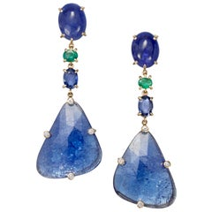 Joon Han Tanzanite Emerald Sapphire Diamond 18 Karat Rose Gold Dangle Earrings