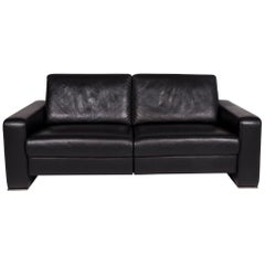 Joop Leather Sofa Black Two-Seat Function Couch