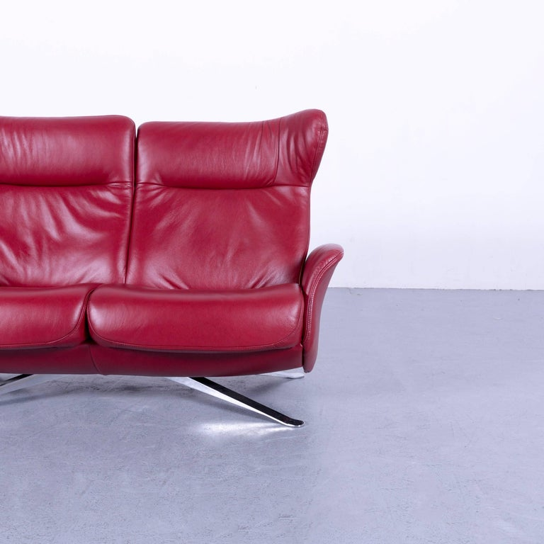 Joop! Leather Sofa Red Two-Seat Recliner at 1stdibs