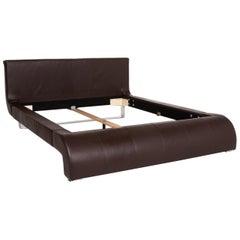 Joop! Swing Leather Double Bed Brown Dark Brown Bed