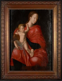 16th C, Biblical, Manner of Joos van Cleve, Madonna with Child, Oil on Panel