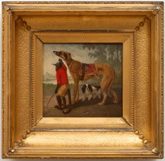 Monkey and 2 Dogs Painting by Vincent De Vos (Belgium 1829-1875)