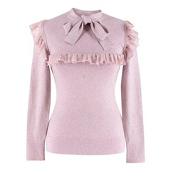 JoosTricot Lilac Ruffled pussy-bow Lurex Sweater XS