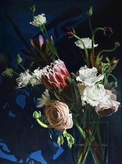 """Blue Velvet"" - large scale floral still life painting, realism - Rachel Ruysch"