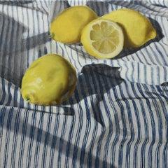 """Distanced Lemons"" - still life with lemons - striped - realism - Rachel Ruysch"