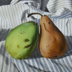 """""""Odd Couple"""" - still life with pears - striped - realism - Raphaelle Peal"""