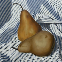 """""""Pear Pair"""" - still life with pears - stripes - realism - Raphaelle Peal"""