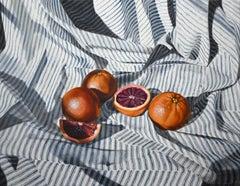 """Sea of Stripes: Blood Oranges"" - still life with oranges, realism - Velasquez"