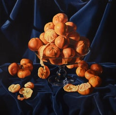 """""""Too Much is Never Enough: Clementines"""" still life, velvet, realism, Caravaggio"""