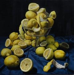 """Too Much is Never Enough: Lemons"" still life, velvet, realism, Caravaggio"