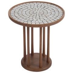 Jordan & Jane Martz Mid-Century Modern Round Walnut and Tile Side End Table