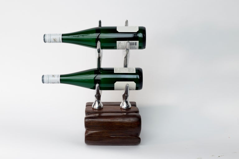 """Jordan Mozer (b.1958): Antler Rack Wine Display, Made in Chicago, Reclaimed Ironwood and Recycled Cast Aluminum-Magnesium alloy.Re 2017. Collection of the artist. Signed  This piece is unique. It is signed by the artist. Measures: 17"""" x 7.25"""" x"""