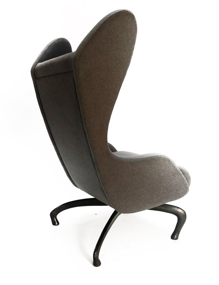 Cantering Lounge Chair, Wool Flannel / Cast Aluminum, Jordan Mozer, USA, 2003/18 For Sale 5