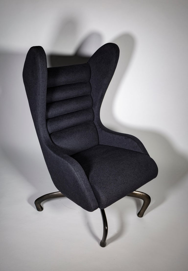Modern Cantering Lounge Chair, Wool Flannel / Cast Aluminum, Jordan Mozer, USA, 2003/18 For Sale