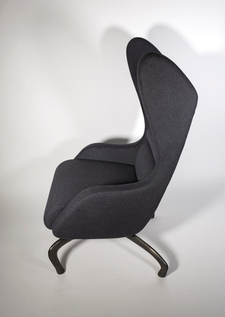 American Cantering Lounge Chair, Wool Flannel / Cast Aluminum, Jordan Mozer, USA, 2003/18 For Sale