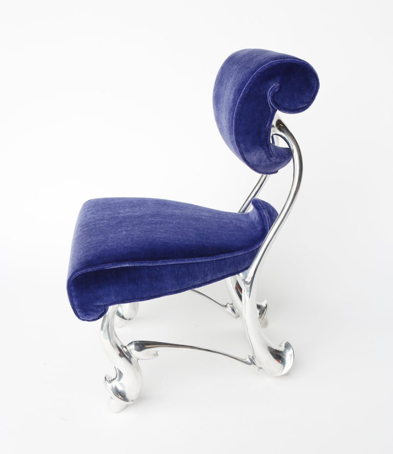 "Jordan Mozer (b. 1958), Children's Ballet Chair, (Small): Midnight Blue Wool Mohair and Cast Magnesium-Aluminum, Made in Chicago. 1992/2018. Prototypical, signed. Collection of the artist. Measurements:  19"" w x 21"" d x 30"" h x seat height 15.5"