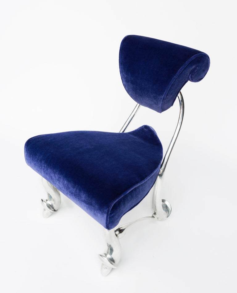 American Jordan Mozer, Children's Ballet Chair, Mohair and Cast Aluminum, USA 1992-2018 For Sale