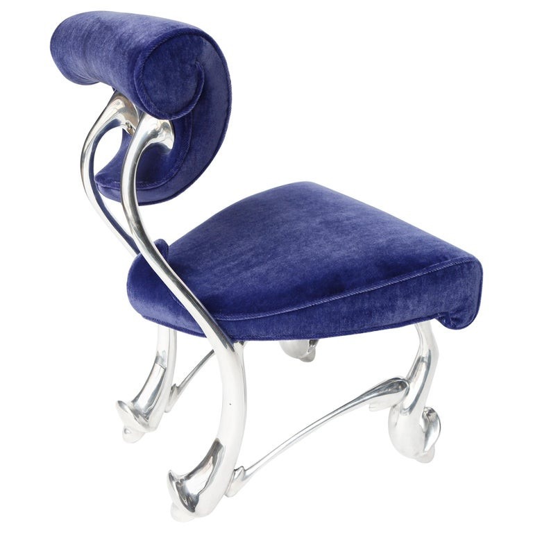 Jordan Mozer, Children's Ballet Chair, Mohair and Cast Aluminum, USA 1992-2018 For Sale