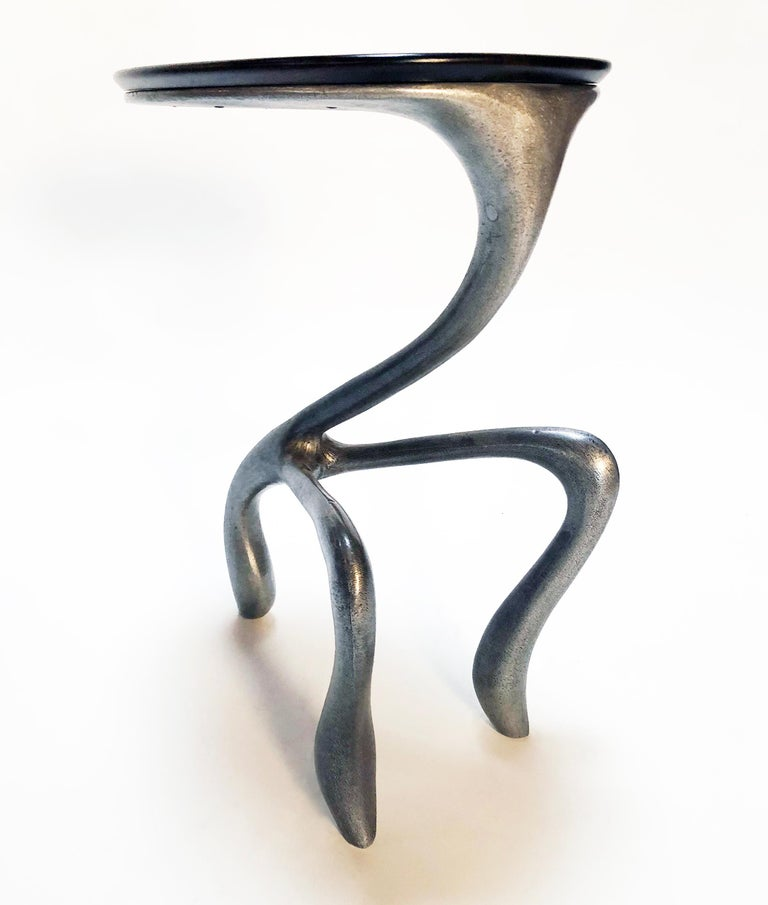 Carved Jordan Mozer, Goosegūß Side Table/Occasional Table, Aluminum/Walnut,USA 2004/18  For Sale