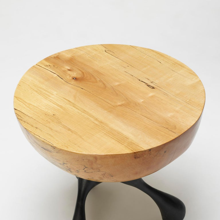 Musashi Side Table, Hand-Carved Sycamore, Cast Aluminum, Jordan Mozer, USA, 2016 In New Condition For Sale In Chicago, IL