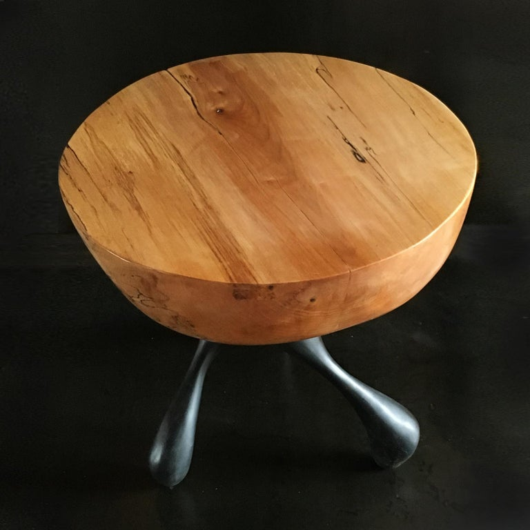Musashi Side Table, Hand-Carved Sycamore, Cast Aluminum, Jordan Mozer, USA, 2016 For Sale 4