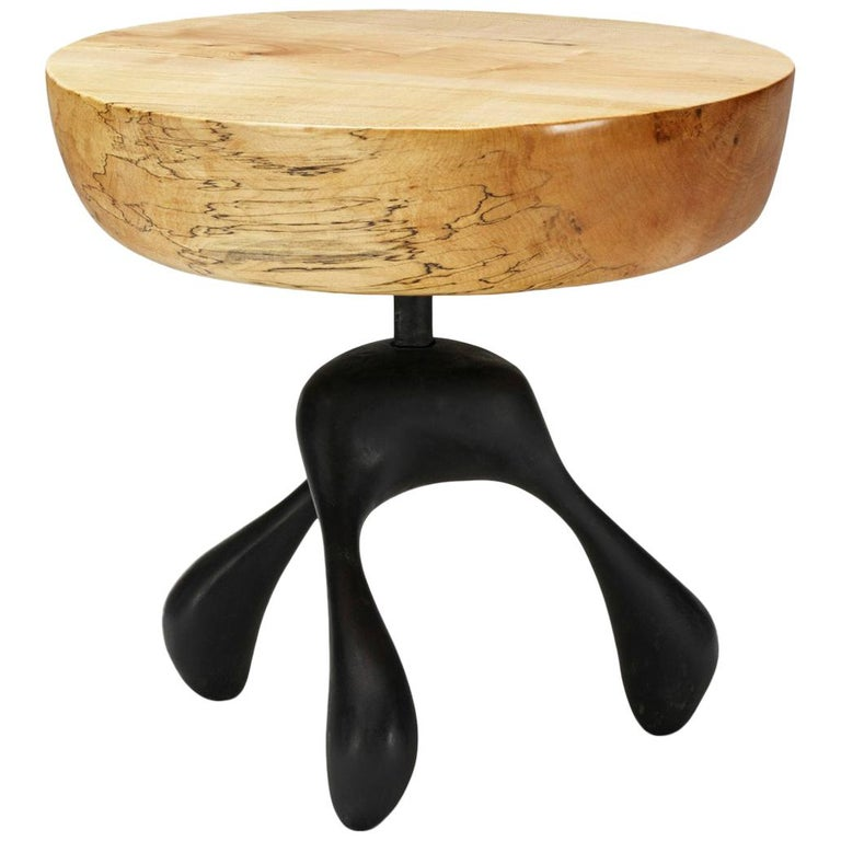 Musashi Side Table, Hand-Carved Sycamore, Cast Aluminum, Jordan Mozer, USA, 2016 For Sale